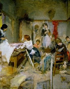 "Ettore Tito (Italian, 1859 - 1941) ""Dressmakers"" - oil on canvas"