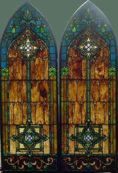 "Pr. Arched Antique American Stained Glass Windows 18"" x 53"" ea. fid10016a&b"