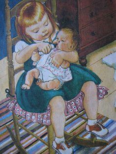 """Illustration taken from """"Baby Dear"""" - by Esther Wilkin, illustrated by Eloise Wilkin. Golden Press, Wisconsin,  1962."""