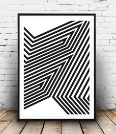 18 Black and White Wall and Home Decor Ideas - 17.Abstract Art Imprime - Diy & Crafts Ideas Magazine