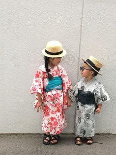 姉弟coordinate* 保育園の夏祭りへ行った時のコーデ。 浴衣は本人が選び、 帯だけわたしが選