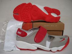 Nike Rift Shoes Nike Air Rift Grey Red White [Nike Air Rift - Featuring red straps, brand logo and rubber outsole, these Nike Air Rift Grey Red White shoes look quite charming. The grey upper with split toe is very comfortable. The clear white Phylon Nike Air Rift, White Nikes, Cute Shoes, Kim Kardashian, Red And White, High Top Sneakers, Baby Shoes, Grey, Bags
