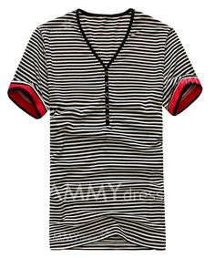 2e46558b0b155 Casual Style V-Neck Buttons Embellished Stripes Short Sleeves Cotton T-shirt  For Men