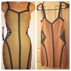 Bebe gold bandage dress This dress hugs all the right curves! bebe Dresses