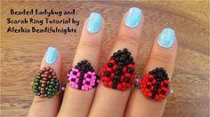 Beaded Ladybug and Scarab Ring Tutorial