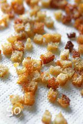 Krosse Croutons und Brot-Crisps - So nach Gefühl Diy Food, Cereal, Peach, Breakfast, Breads, Dips, Fritz, Food Blogs, Philadelphia