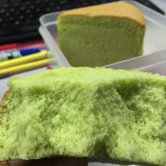 Pandan Chiffon (Cooked dough) adapted from Ennety's Orange Chiffon Ingredients: 160g Cake flour 1.5 tsp Clabbergirl double acting baking powder (or 2 tsp baking powder) 105g oil 120g p…