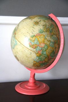 what is this? I have no idea! + a $5 DIY coral antique globe redo