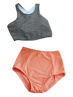 Shop Monochrome Stripe Bikini Top And Pink High Waist Bottom from choies.com .Free shipping Worldwide.$18.9