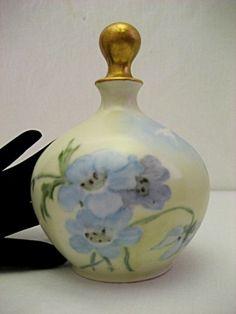 Antique blue-flowered porcelain perfume bottle