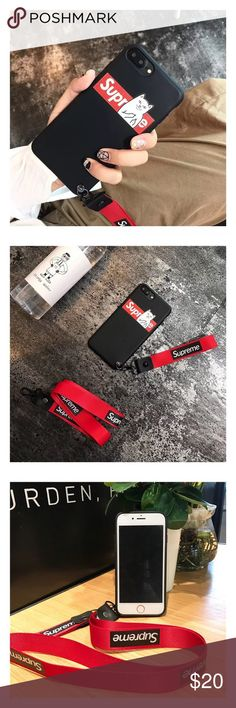 Supreme iPhone X soft phone case with strap 🌈jelly soft rubber phone case 🌈brand new and high quality 🌈protect your phone from shock and friction, anti-vibration and prevent breaking 🌈precisely cut openings to allow full access to all functions of your iPhone 📱  🌈easy to install and disassemble  🌈match you different style and occasion Supreme Accessories Phone Cases