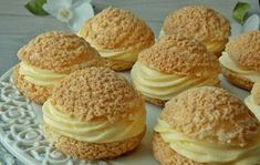 Pomarańczowe ptysie z kruszonką Sandwhich Cookies, Sweets Cake, Cake Pops, Cheesecake, Deserts, Muffin, Bread, Baking, Breakfast
