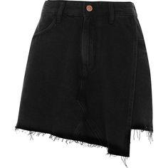 River Island Black frayed hem wrap denim skort (1.530 CZK) ❤ liked on Polyvore featuring skirts, mini skirts, bottoms, black, skorts, women, denim skort, zipper skirt, wrap skort and wrap mini skirt