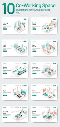 Buy 10 Co-Working Space Illustrations Vol 1 by TanahAirStudio on GraphicRiver. 10 Co Working Space Illustration Vol 1 Set of modern flat design concept. Office Space Design, Workspace Design, Office Interior Design, Office Interiors, Working Space Design, Coworking Space, Space Illustration, Illustrations, Creative Hub