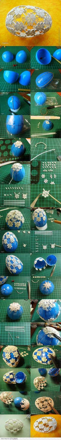 DIY Quilling Flowers Easter Egg | iCreativeIdeas.com