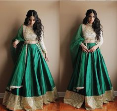 Amazing emerald green lehenga with embroidery in gold Gold Lehenga, Green Lehenga, Indian Attire, Indian Wear, Pakistani Outfits, Indian Outfits, Ethnic Fashion, Asian Fashion, Desi Clothes