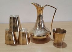 Handmade Vintage Decorative Set of 4 Cocktail Glasses and 1 Pitcher Vessel for Home Kitchen and Dining Centerpiece Decor Made in India with Solid Brass Material Gold pack of 5 -- Read more  at the image link.