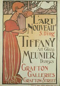 Frank Brangwyn designed this 1899 poster for an Art Nouveau exhibition at London's Grafton Galleries, organized by famed Parisian art dealer Siegfried Bing. Tiffany Kunst, Tiffany Art, Tiffany Glass, William Morris, Art Nouveau Poster, Inspiration Art, Exhibition Poster, Historical Maps, Selling Art