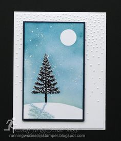 Stampin' Up Festival of Trees by #RunningwScissorsStamper, Shadow Stamping, Reflection, Sponging