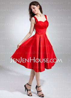 Homecoming Dresses - $109.99 - A-Line/Princess Sweetheart Tea-Length Satin Homecoming Dress With Ruffle (022009571) http://jenjenhouse.com/A-Line-Princess-Sweetheart-Tea-Length-Satin-Homecoming-Dress-With-Ruffle-022009571-g9571