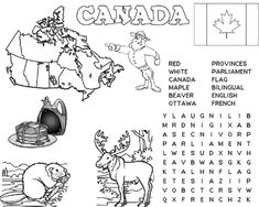 Fun worksheet learning about Canada for year olds! Social Studies Activities, Teaching Social Studies, Teaching Kids, Canada For Kids, Canada 150, Geography Of Canada, Canada Day Crafts, Canada Party, Canadian Culture