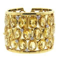 Massive Citrine Diamond Gold Wide Cuff Bracelet   From a unique collection of vintage more bracelets at https://www.1stdibs.com/jewelry/bracelets/more-bracelets/