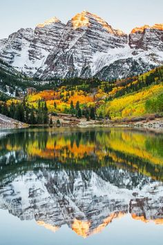 """Sunrise at Maroon Bells, Aspen, Colorado, USA. The Maroon Bells are two peaks in the Elk Mountains, separated by about a third of a mile. They are reputed to be the """"most-photographed spot in Colorado"""". Oh The Places You'll Go, Cool Places To Visit, Places To Travel, Voyage Usa, Adventure Is Out There, Belle Photo, Beautiful Landscapes, The Great Outdoors, Wonders Of The World"""