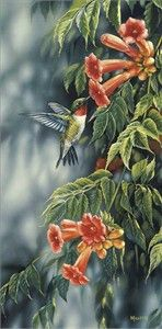 """Rosemary Millette Handsigned & Numbered Limited Edition Print:""""Summer-Ruby Hummingbird"""""""