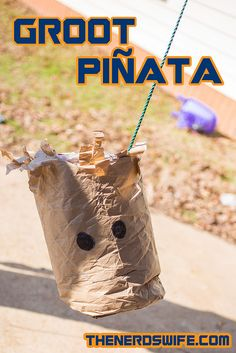 DIY Groot Piñata for a Guardians of the Galaxy Party -- so easy and fun! #OwntheGalaxy #ad