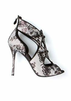 Nicholas Kirkwood black and white lace sandals