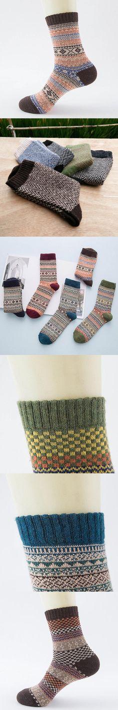 5 Pairs Mans Kniting Socks Printed Warm Wool Solid Crew Men Socks Casual Hot Sale Fashion Miesten sukat 2 #DD