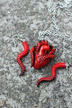 Tentacle human heart set Anatomical Human Heart Pendant