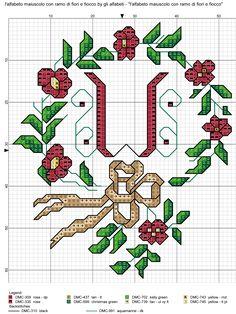 alfabeto maiuscolo con ramo di fiori e fiocco W