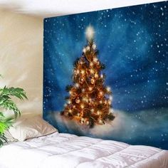 Christmas Tree Night Print Tapestry Wall Hanging Art