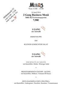 Unser Mittagsmenu fuer Donnerstag den 14.04.16.   Milos Wein Restaurant  www.milos-muenchen.de #Mittagskarte #Mittagsmenu #Businesslunch #Milos #Wein #Restaurant #Muenchen #Neuhausen #Grieche #griechischesrestaurant