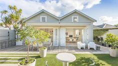 Tranquil backyard - Lawrence Street in Herne Bay Bungalow Porch, Country Modern Home, Hamptons Style Homes, Porch Addition, Lawrence Street, Backyard, Patio, Exterior House Colors, Outdoor Areas