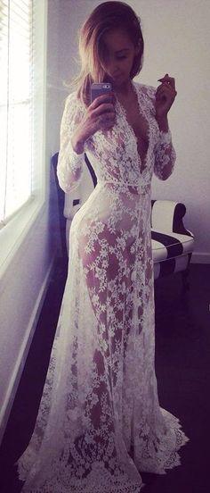sexy sheer lace maxi dress.