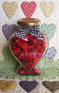 <3 heart jar, red buttons, heart quilt!