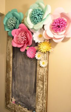 Chalkboard adorned with pretty paper flowers