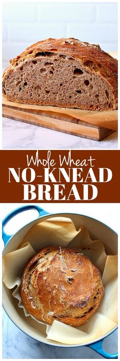 Whole Wheat No-Knead Bread Recipe - healthy version of the classic no-knead bread made with whole wheat flour. Add nuts and seeds for more texture!