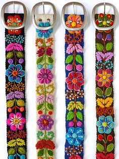 Wool embroidered belt floral colorful, peruvian belt, size S M L