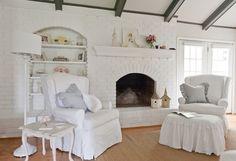 white painted fireplace brick