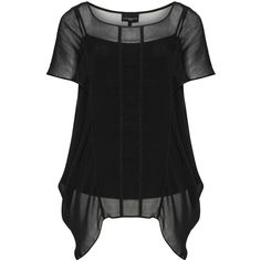 Live Unlimited London Black Plus Size 2-in-1 chiffon top (335 PLN) ❤ liked on Polyvore featuring tops, black, plus size, chiffon top, summer tops, short sleeve tops, womens plus tops and plus size sheer tops