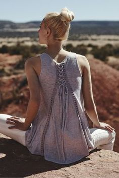 I loooove how this laces up in the back. Effortlessly cute summer look!  Lace-Up Swing Tank - anthropologie.com
