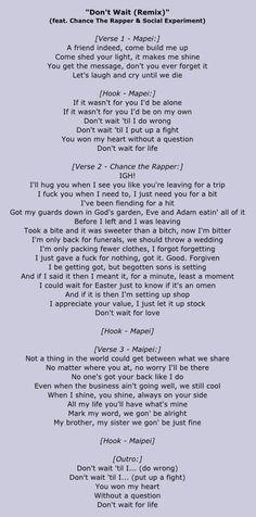 Mapei Chance The Rapper Dont Wait Remix Lyrics