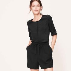 "NWOT Loft Roll Sleeve Romper New without tags.Cute, black short jumper. Roll Sleeve Romper, a ""Casual Classic!"" Never worn! Loft size 00/XXS but Fits XXS-M. I am a size 8 and put it on but it was pretty tight, so a size 6 person could look nice in it. A size small person would be nice in it also, but I think an xxs person would drown in it! Long sleeves that roll up and button for extra style, button detail and pockets! Great transitional wardrobe item easily worn summer into fall with a…"