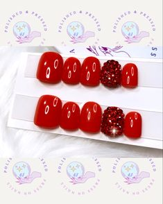 Short Press On Nails, Etsy Seller, Creative, Red