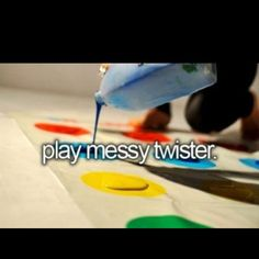 Play messy twister, i really really want to do this with friends soon! Wedding Gifts For Friends, Diy Wedding Gifts, Best Bucket List, Summer Bucket Lists, Messy Twister, Outdoor Movie Screen, Homemade Essential Oils, Paper Roll Crafts, Summer Diy