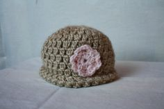 Tan/peach infant hat 3 mos by Grandmomcindysgifts on Etsy, $15.00