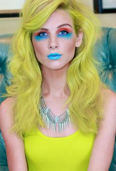 neon color bug at kevinmurphy hair show makeup by aubrie layne hair - Kevin Murphy Color Bug